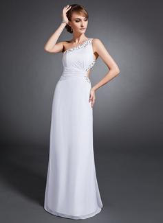 Etui-Linie One-Shoulder-Träger Bodenlang Chiffon Abendkleid mit Rüschen Perlen verziert Pailletten (017015106)