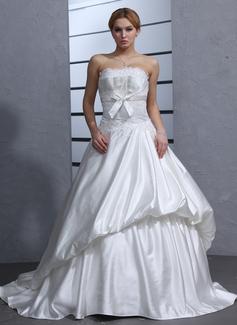 Corte de baile Escote corazón Cola corte Satén Vestido de novia con Volantes Bordado Los appliques Encaje Lazo(s) (002011541)