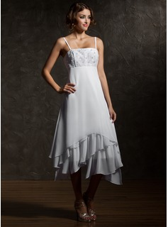 Empire Asymmetrical Chiffon Wedding Dress With Lace (002000024)