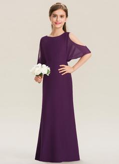 Corte A Decote redondo Longos Tecido de seda Vestido de daminha júnior (009173271)