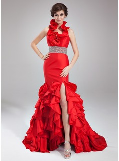 Trumpet/Mermaid Halter Court Train Taffeta Prom Dresses With Beading Split Front Cascading Ruffles (018021082)
