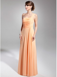 Holiday Dresses A-Line/Princess One-Shoulder Floor-Length Chiffon Holiday Dress With Ruffle (020014706)