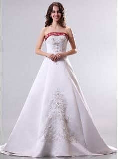 A-Line/Princess Strapless Court Train Satin Wedding Dress With Beading (002014296)