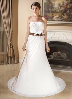 Trumpet/Mermaid Sweetheart Court Train Chiffon Satin Wedding Dress With Ruffle Sash Flower(s) (002012892)