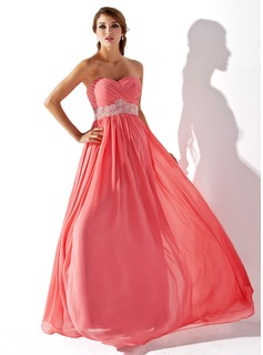 Empire Sweetheart Floor-Length Chiffon Prom Dresses With Ruffle Beading (018005353)