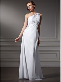 Sheath/Column One-Shoulder Sweep Train Chiffon Wedding Dress With Ruffle Beading (002011746)