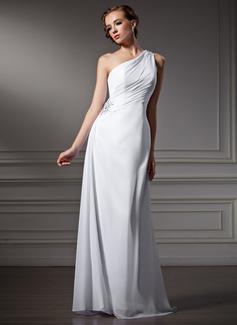 Forme Fourreau Encolure asymétrique Traîne balais Mousseline Robe de mariée avec Plissé Emperler (002011746)