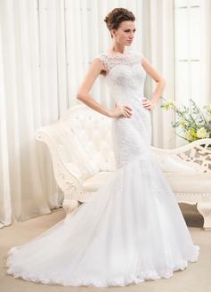 Trompete/Meerjungfrau-Linie U-Ausschnitt Sweep/Pinsel zug Tüll Spitze Brautkleid mit Perlen verziert Pailletten (002054372)