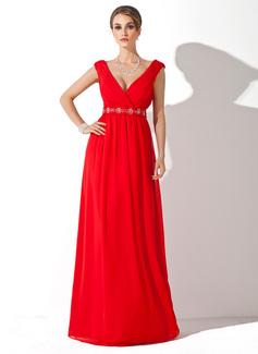 A-Linie/Princess-Linie V-Ausschnitt Bodenlang Chiffon Kleid für die Brautmutter mit Rüschen Perlen verziert (008006268)