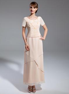 A-Linie/Princess-Linie U-Ausschnitt Knöchellang Chiffon Kleid für die Brautmutter mit Perlen verziert (008015061)