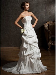 A-Line/Princess Strapless Court Train Taffeta Wedding Dress With Ruffle Lace Beading (002011519)
