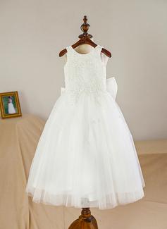 A-Linie/Princess-Linie U-Ausschnitt Wadenlang Tüll Kleid für junge Brautjungfern mit Schleife(n) (009126277)