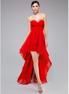 Empire Sweetheart Asymmetrical Chiffon Prom Dress With Ruffle Beading Sequins (017041051)
