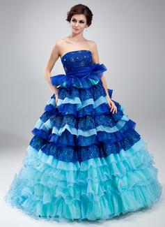 Duchesse-Linie Trägerlos Hof-schleppe Organza Spitze Quinceañera Kleid (Kleid für die Geburtstagsfeier) mit Perlen verziert Gestufte Rüschen (021018809)