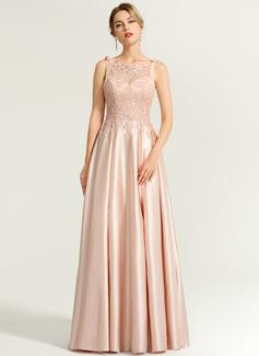 A-Linie/Princess-Linie Rechteckiger Ausschnitt Bodenlang Satin Abendkleid mit Perlstickerei Pailletten Schleife(n) (017167678)