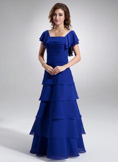 A-Linie/Princess-Linie Rechteckiger Ausschnitt Bodenlang Chiffon Kleid für die Brautmutter mit Rüschen Perlen verziert Gestufte Rüschen (008016897)