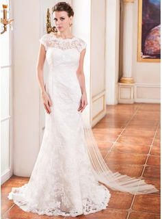 Trumpet/Mermaid Scoop Neck Watteau Train Tulle Lace Wedding Dress With Ruffle (002055085)