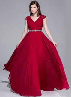 A-Linie/Princess-Linie V-Ausschnitt Bodenlang Chiffon Spitze Abendkleid mit Perlen verziert Gefaltet (017025540)
