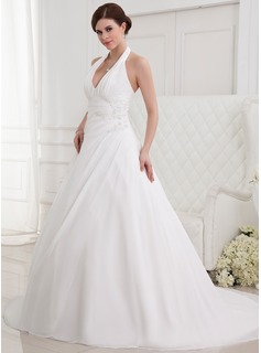 A-Line/Princess Halter Chapel Train Chiffon Wedding Dress With Ruffle Beading Appliques Lace (002012787)