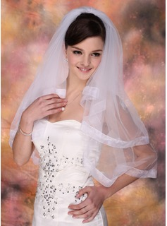 Two-tier Blusher Bridal Veils With Ribbon Edge (006003748)