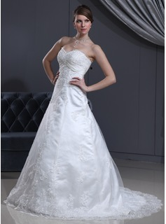 A-Line/Princess Sweetheart Court Train Satin Tulle Wedding Dress With Lace Beading (002000126)