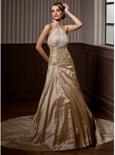 A-Line/Princess Halter Chapel Train Taffeta Wedding Dress With Ruffle Beading (002004550)