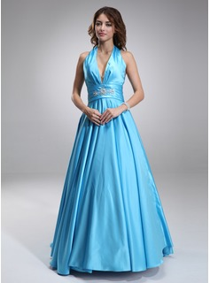 Prom Dresses A-Line/Princess Halter Sweep Train Charmeuse Prom Dress With Ruffle Beading (018002743)