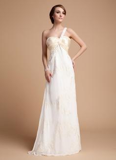 Empire-Linie One-Shoulder-Träger Bodenlang Chiffon Festliche Kleid mit Rüschen Spitze Perlen verziert (020014525)