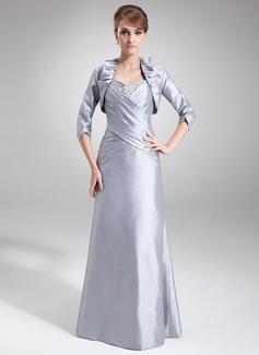 Etui-Linie Schatz Bodenlang Taft Kleid für die Brautmutter mit Rüschen Perlstickerei Pailletten (008006075)