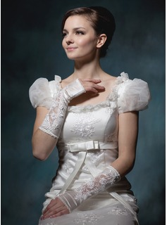 Elastic Satin Elbow Length Bridal Gloves (014020521)