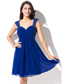 Empire Sweetheart Short/Mini Chiffon Homecoming Dress With Ruffle Beading Appliques Lace Sequins (022053952)
