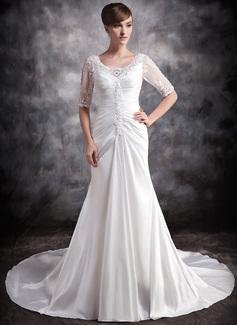Forme Princesse Col V Traîne chappelle Taffeta Robe de mariée avec Plissé Dentelle Emperler (002012919)