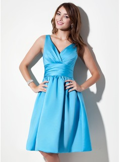 Cheap Bridesmaid Dresses A-Line/Princess V-neck Knee-Length Satin Bridesmaid Dress With Ruffle (007000941)