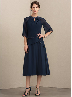 A-Line Scoop Neck Tea-Length Chiffon Cocktail Dress With Beading Sequins (016192769)