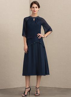 A-Linie/Princess-Linie U-Ausschnitt Wadenlang Chiffon Kleid für die Brautmutter mit Perlstickerei Pailletten (008152146)