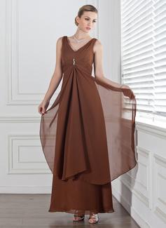 Empire V-neck Ankle-Length Chiffon Bridesmaid Dress With Beading Cascading Ruffles (007001778)