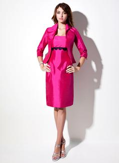Vestido tubo Estrapless Hasta la rodilla Tafetán Dama de honor con Encaje Fajas (007001458)