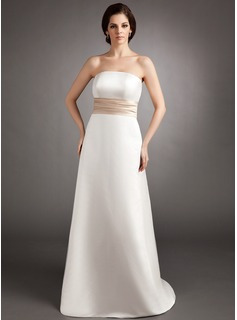 Empire Strapless Sweep Train Satin Bridesmaid Dress With Sash (007000888)