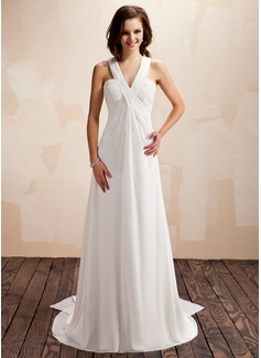 Empire V-neck Watteau Train Chiffon Wedding Dress With Ruffle (002012664)