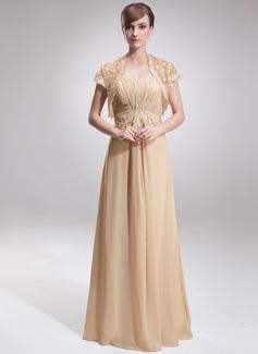 Empire-Linie Herzausschnitt Bodenlang Chiffon Kleid für die Brautmutter mit Rüschen Spitze (008005932)