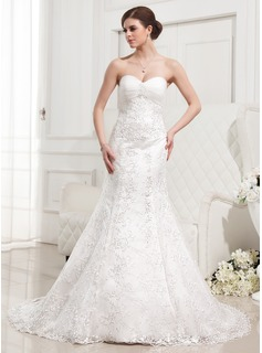 Trumpet/Mermaid Sweetheart Court Train Satin Tulle Lace Wedding Dress With Ruffle Beading (002012829)