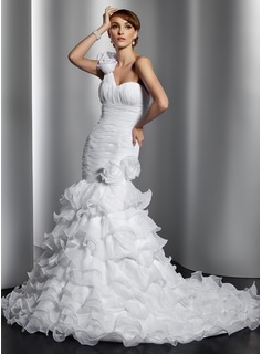 Mermaid One-Shoulder Chapel Train Organza Wedding Dress With Ruffle Flower(s) (002014797)