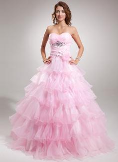 Duchesse-Linie Herzausschnitt Bodenlang Organza Quinceañera Kleid (Kleid für die Geburtstagsfeier) mit Perlen verziert Blumen Gestufte Rüschen (021016368)
