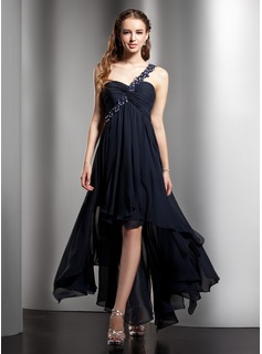 Cheap Homecoming Dresses Empire One-Shoulder Asymmetrical Chiffon Homecoming Dress With Ruffle Lace Beading (022008972)