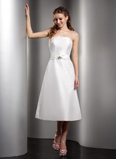 A-Linie/Princess-Linie Trägerlos Wadenlang Taft Brautjungfernkleid mit Rüschen Perlen verziert (007001078)