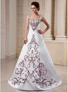A-Line/Princess V-neck Sweep Train Satin Wedding Dress With Embroidery (002000018)