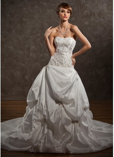 Ball-Gown Sweetheart Chapel Train Taffeta Wedding Dress With Embroidered Ruffle Beading (002000491)