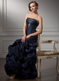 Forme Princesse Sans bretelle Longueur au sol Taffeta Robe bal d'étudiant avec Plissé Emperler (018004847)