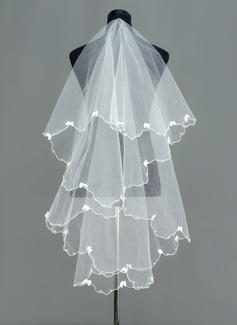 Een-rij Wals Bruids Sluiers met Geschulpte Rand (006005390)