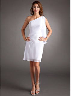 Sheath One-Shoulder Knee-Length Chiffon Cocktail Dress With Ruffle Beading (016008793)